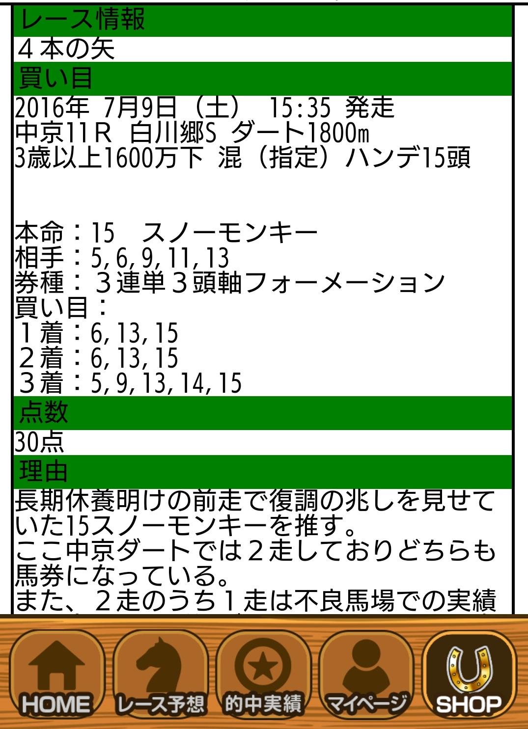 7/9的中実績 4本の矢 ホースマン